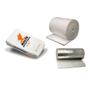 Materassino fibra ceramica e malta refrattaria